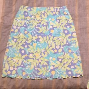 Lilly Pulitzer Scalloped Skirt Sweet Blue Crabby